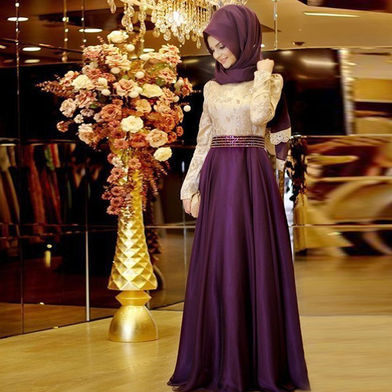 2016 Muslim Evening Dresses A-line Long Sleeves Purple Embroidery Hijab Islamic Dubai Abaya Kaftan Long Evening Gown Prom Dress(China (Mainland))