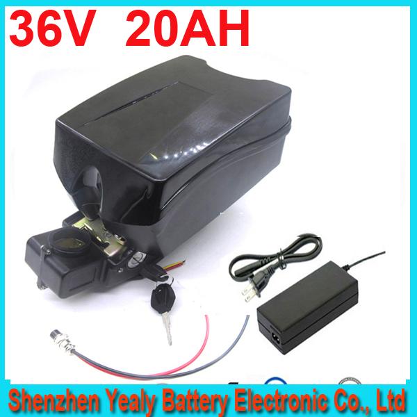 Free shipping 36v 20ah lithium ion ebike battery F rog case bicycle electric bike battery 36v 500w 750w 1000w with charger kit(China (Mainland))