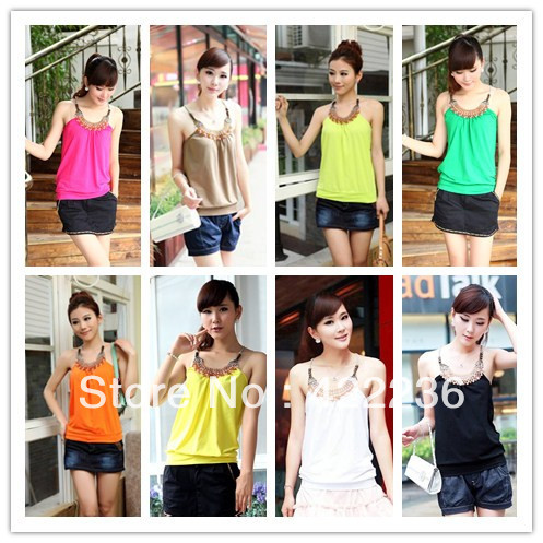 Summer women's fashion tanks cotton tops beading necklace spaghetti strap suspenders cute Vest multi colors Camis ANX10168(China (Mainland))