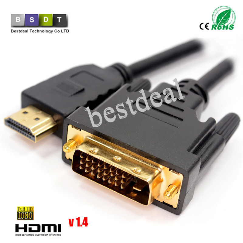 High speed hdmi cable1m,1.8m,2m,3m 5M HDMI to DVI DVI-D 24+1 pin adapter cables 3D1080p for LCD DVD HDTV XBOX PS3 free shipping(China (Mainland))
