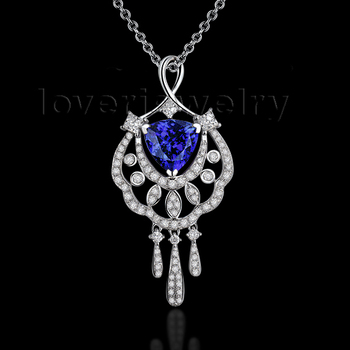 Blue Tanzanite Pendant With Natural Diamonds In 18K White Gold Trillion 8x8mm For Wedding And Party WP075