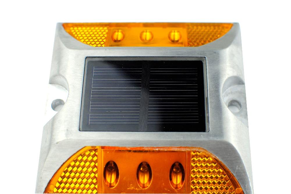 LED Solar road stud light New Products Reflective Solar Ground light Aluminum led Path Deck Dock Warning LED Light, Yellow(China (Mainland))