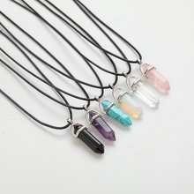Hexagonal Column Necklace Natural Crystal turquoise Agate Amethyst Stone Pendant Leather Chains Necklace For Women Fine Jewelry