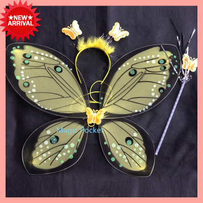 2015 New Arrival!! Wholesale 10sets/lot children fairy wings kids butterfly wings for party (headband,stick,wing),free shippingОдежда и ак�е��уары<br><br><br>Aliexpress