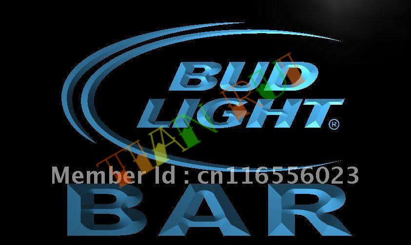 LA093- BAR Bud Beer LED Neon Light Sign(China (Mainland))