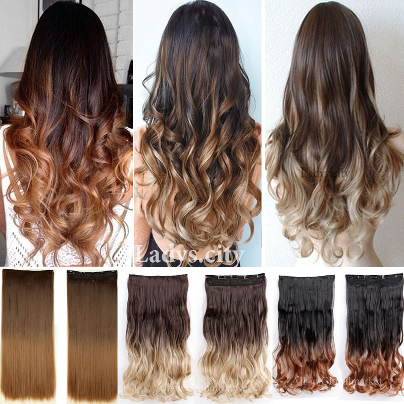 New Ombre Hair Clip in Hair Extensions Heat Resistant Curly Wavy Long Dip Dye Colored Hair Piece Synthetic Hair 1PCS Hony Blonde(China (Mainland))