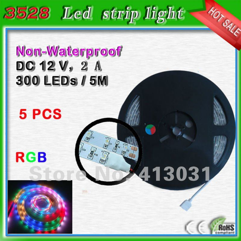 non waterproof rgb led strip smd 3528 5m 300 leds 12 volt. Black Bedroom Furniture Sets. Home Design Ideas
