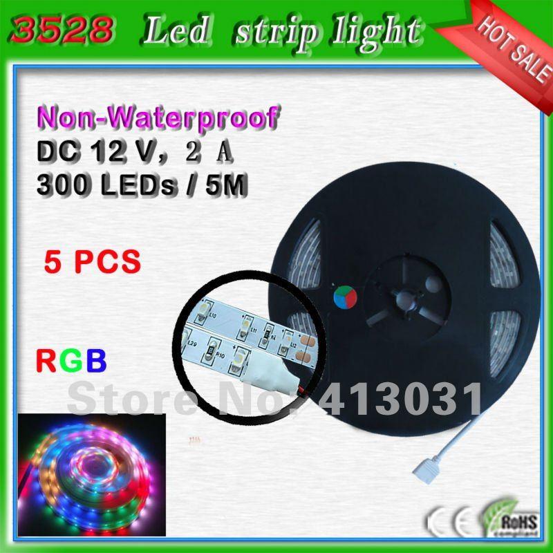 Non waterproof rgb led strip smd 3528 5m 300 leds 12 volt - Bande led autocollante ...