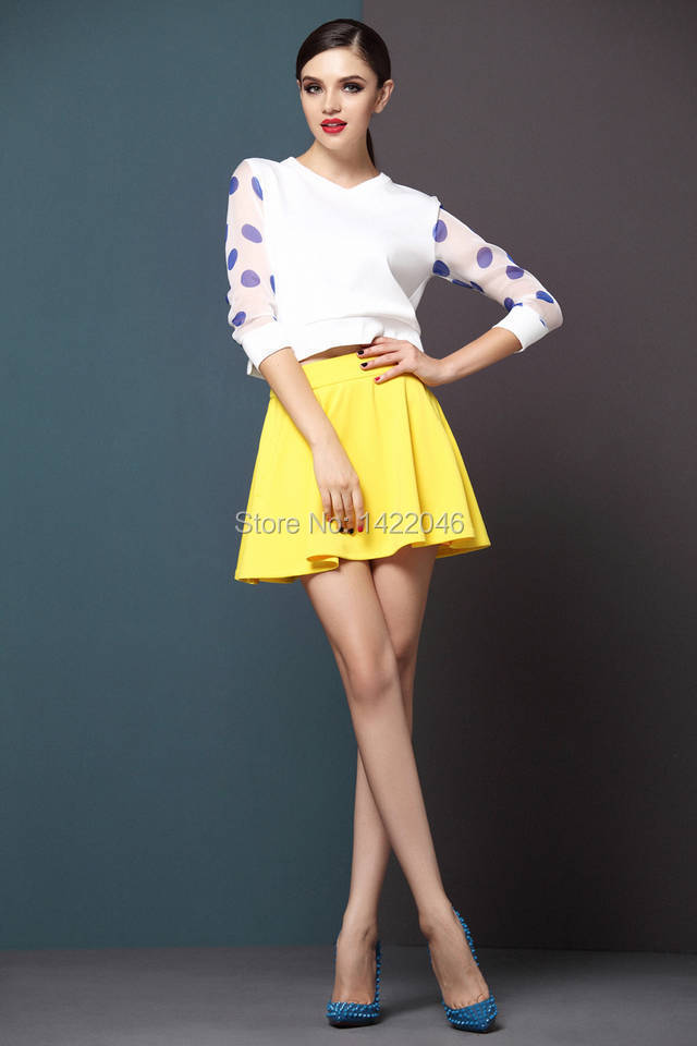Fashion Autumn Women Two Piece Top And Skirt Set Polka Dot Long-Sleeve White T Shirt + Woman Skirts Yellow Pleated Skirt WSEooo3(China (Mainland))