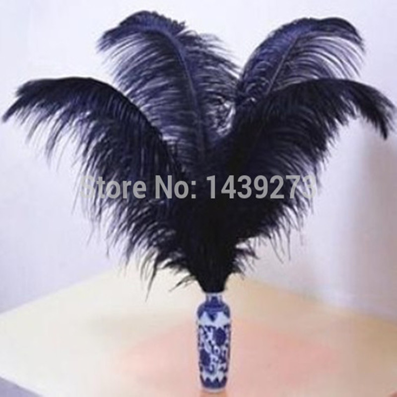 Wholesale 100 pc / lot high quality natural black ostrich feather 18-20'inch / 45-50cm long DIY dream wedding party supplies(China (Mainland))