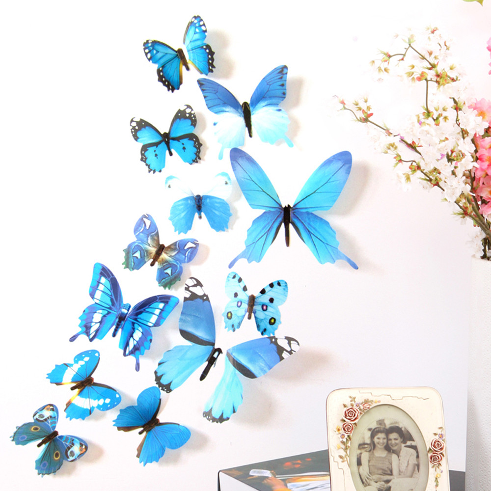 Hot Selling 12PCS 3D PVC Magnet Butterflies DIY Wall Sticker Stickers Butterfly Home Decor Room Decorations refrigerator decal