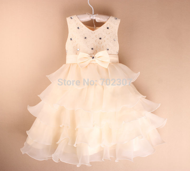 wholesale New arrive Baby girl Wedding Dress children girl 5 layered with apricot bow party dress 5 colors,free shipping K-06<br><br>Aliexpress