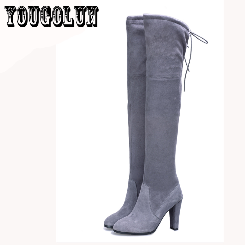 flock sheepskin genuine leather Black round toe fashion thigh high Martin boots women,Winter casual elegant over the knee shoes<br><br>Aliexpress