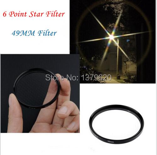 49mm 49 mm 6 Point Star Filter Star Light Flare Cross 6 6x 6pt Filter for Digital Camera canon sony nikon pentax(China (Mainland))