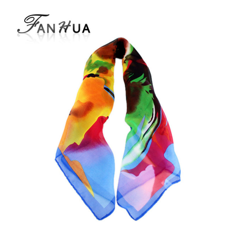 2015 New Fashion Blue Orange Colorful Printed Silk Square Scarves For Women(China (Mainland))