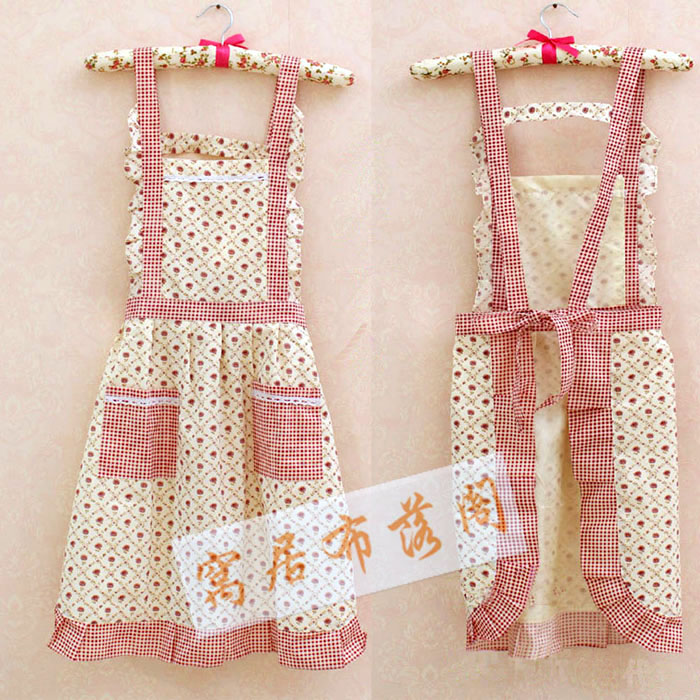 sexy apron for woman Pure cotton han edition small calico apron Lovely princess rural wind Korean leisurewea(China (Mainland))