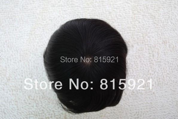 Stock Indian Human Hair Piece Mono Base NPU Around Mens Toupee Sale - EJS Shop store