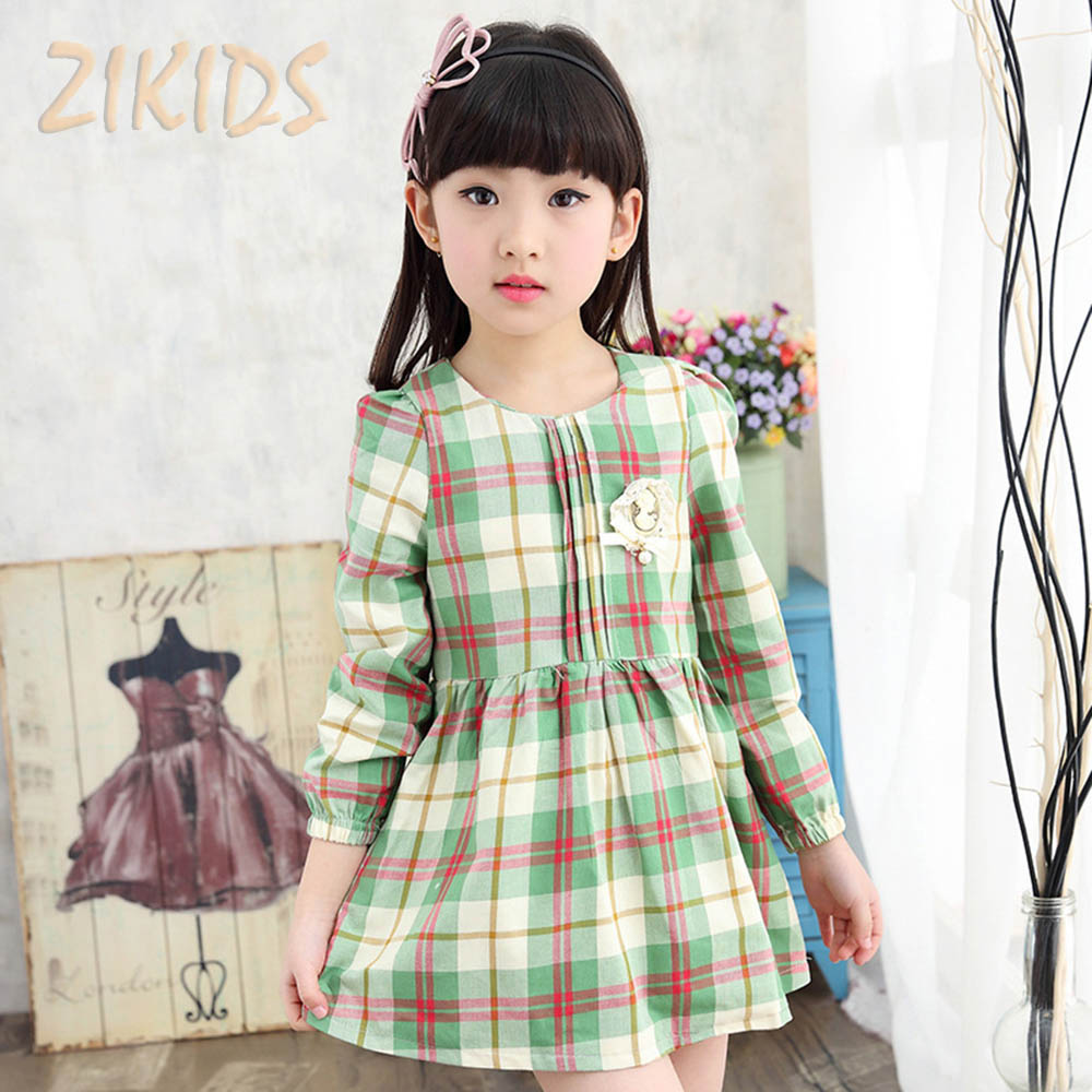 Children Girls font b Tartan b font Plaid Dresses Casual Long Sleeve Dress Girl Clothing Brand