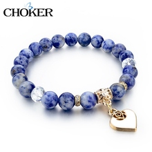 Boho Natural Stone Bracelets For Women Gold Heart Carter Love Bracelets & Bangles With Stones Ethnic Jewelry Pulseira Feminina(China (Mainland))