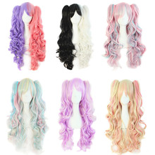 long lolita wig ponytails purple pink heat resistant wavy synthetic wigs curly lolita anime wig cosplay hair wigs for women 2016(China (Mainland))