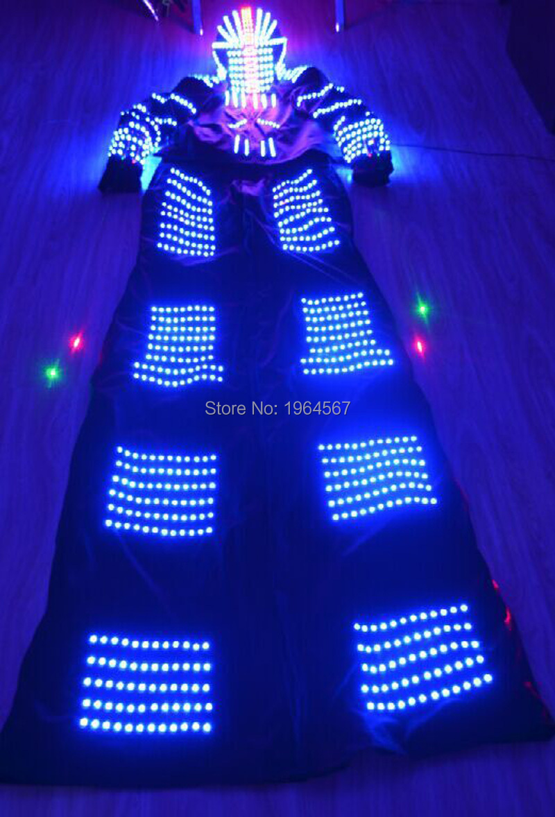 New design full colors LED costumes/LED Clothing/Light suits/ LED Robot suits with helmet for dance satge show party supply(China (Mainland))