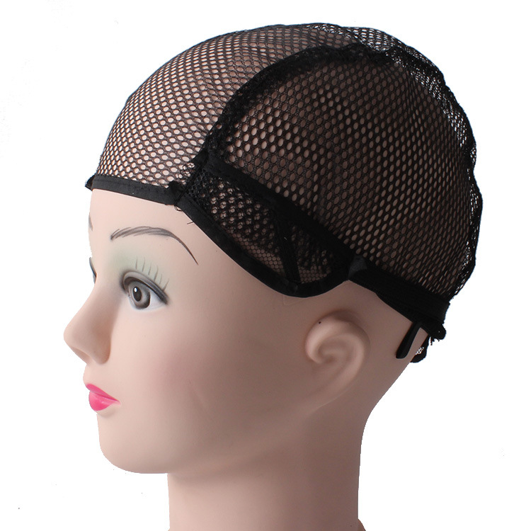 Medium Size high quality Nylon Net Black Wig Caps For Making Weaving Wigs With Adjustable stretch net Strap On Back(China (Mainland))