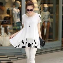 XXXXL Hot Summer Style Women Blouses Tops 2015 Vintage Loose Short Sleeve Women Shirts Plus Size Chiffon Blouse Blusas Feminina(China (Mainland))