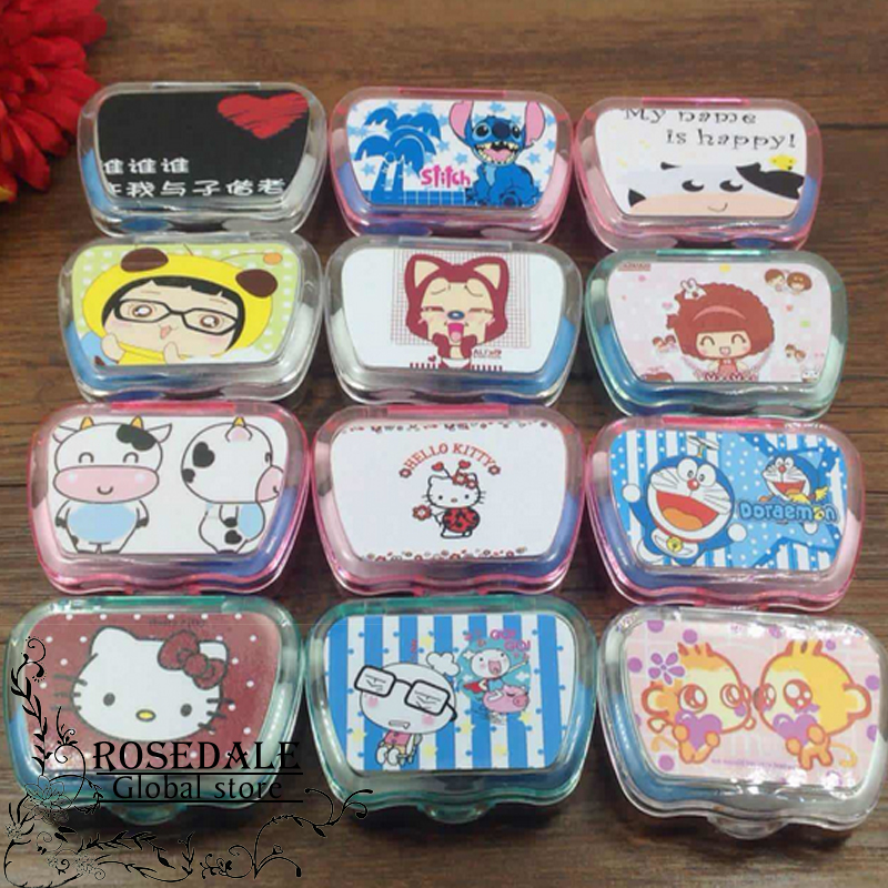 1PCS New Cartoon Cute Color Travel Glasses Contact Lenses Box Contact lens Case for Eyes Care Kit Holder Container(China (Mainland))
