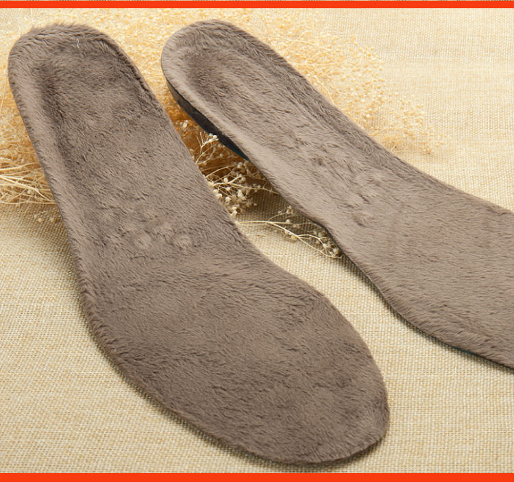 Bocan gel insoles winter thick velvet warm insoles imitation wool pads sweat-absorbant breathable thermal insoles