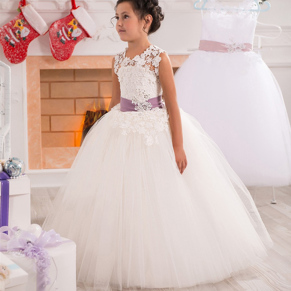 Vintage Prom Little Girl Gowns Lace Appliques Tulle ...