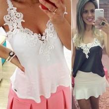 Blanco encaje Blusas femeninas 2015 mujer Blusas señora Patchwork camisillas Sexy camisa de chifon tirantes finos cincha chaleco Tops Blusas XXXL