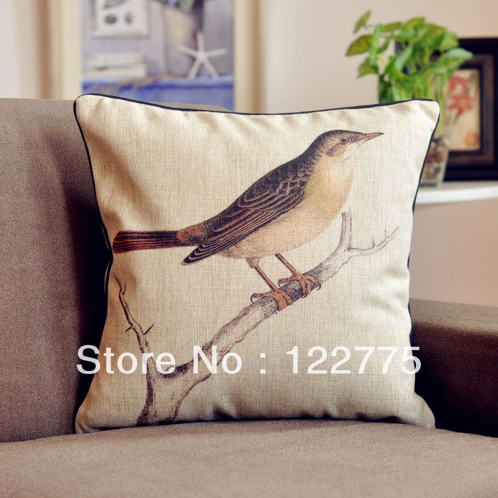 45x45cm French Vintage Country Style Floral Bird Cotton