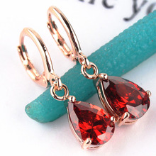 Free shipping Fashion New Women/Girl's 18k Rose Gold Filled Pink/Red/Green/Champagne CZ Stone Drop Dangle Earrings Gift Jewelry(China (Mainland))