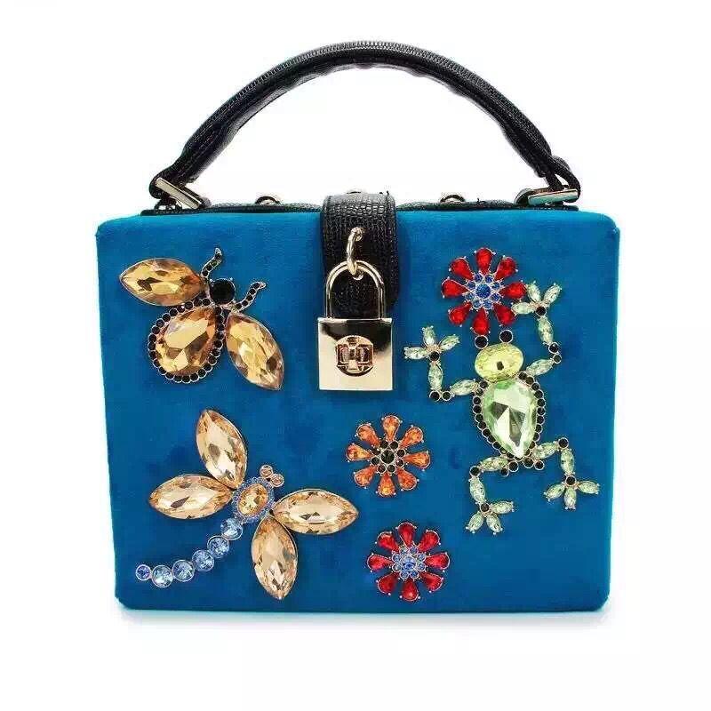 Designer Padlock Top-Handle Bag Handbags Velvet Dragonfly Frog Butterfly Flower Diamond Evening Clutch Shoulder Bag XA1289-1A