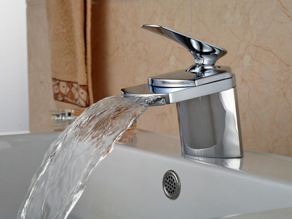Chrome brass big waterfall bathroom faucet deck mounted - Single hole waterfall bathroom faucet ...