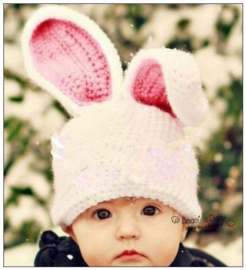 NewBorn Knit Baby Hat with Ears Crochet Animal Hats Children Accessories Cartton Kids Beanies Skull Caps,#3C2614-2(China (Mainland))