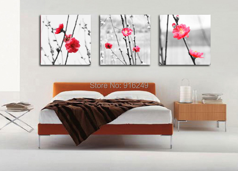 3 Pieces Free Shipping Plum Blossom Painting Print Home Decorative Cheap Art Picture Paint on Canvas Prints(China (Mainland))