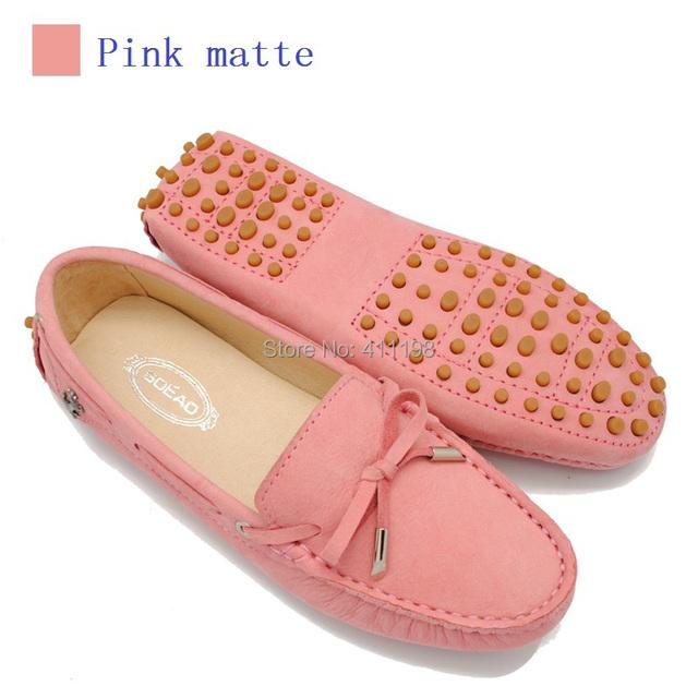 Женщины натуральная кожа обувь горох мягкий вождения бант шнуровка мокасины леди ...