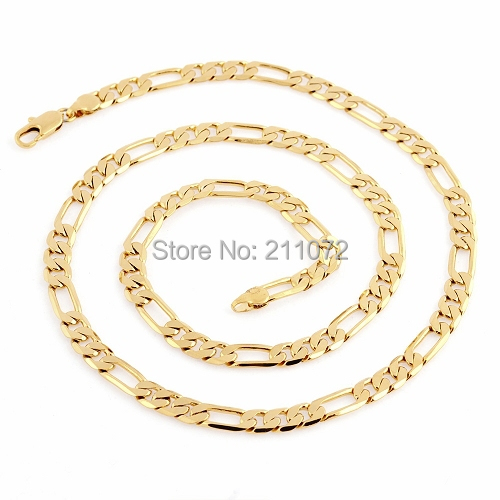 """24"""" 28g 18K Solid Yellow Gold Filled/Plated Men Jewelry long Gold Necklace Body Cuban Link Mens Necklace Chain Bulk C4(China (Mainland))"""