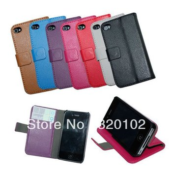 Hot selling Free shipping&50pcs/Lot New Leather Color Wallet Book Case Cover Pouch for iPhone 4 4S Best Quality