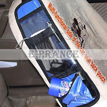 Car Multi Pocket Storage Organizer Black/Blue/Red Waterproof fabric Function Seat Side storage drink Bag QK00