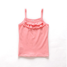 2015 New Arrival Baby Girl Summer Candy Colors Lace Sleeveless Cotton T shirt Vest B647