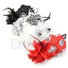 Sexy Venetian Lace Feather Ball Masquerade Mask Paillette Flower Party Eye Masks Hot Selling(China (Mainland))