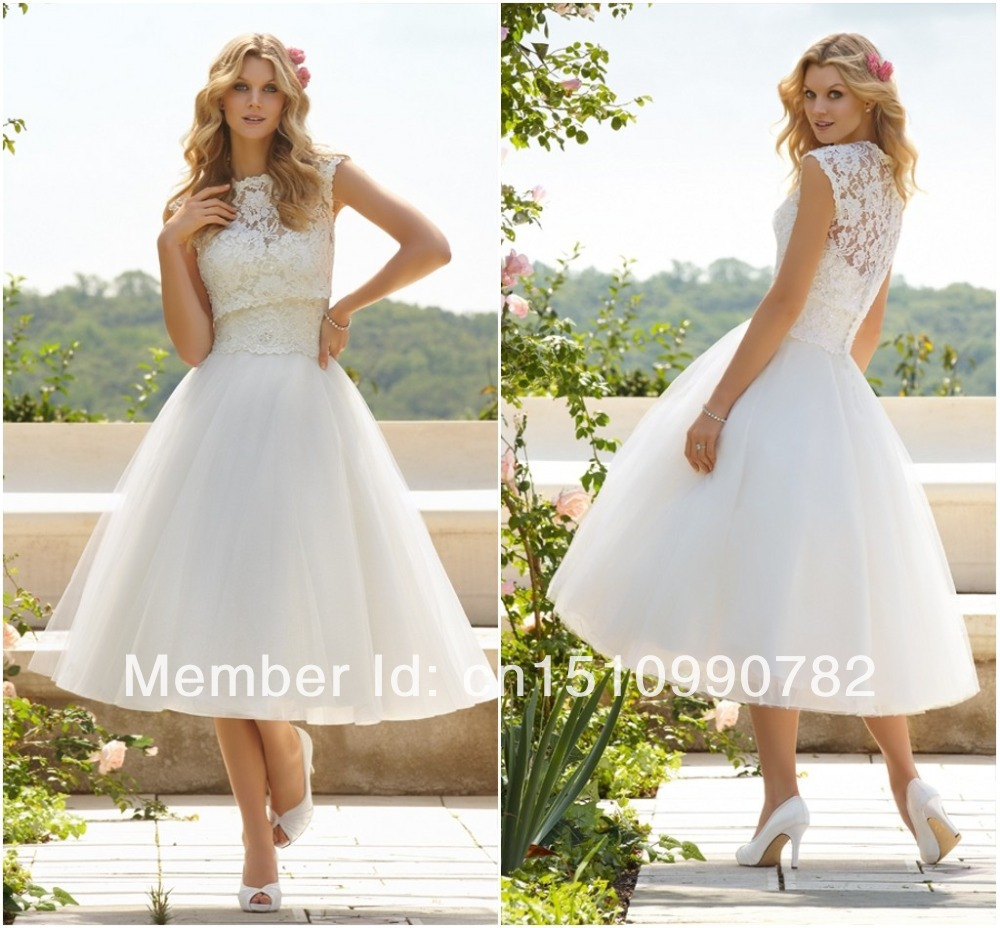 hot sales summer white ivory cap sleeve two pieces mid With mid calf wedding dresses