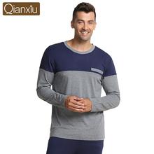 Qianxiu  Pajamas For Men  Modal Sleepwear Patchwork Men Pajama Set  Plus Size Lounge Wear(China (Mainland))