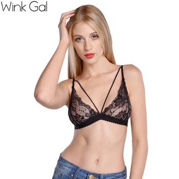 Wink Gal 2015 Summer Sexy Women's Black Lingerie Lace Up Sleepwear Bra Underwear Women Nightwear Bralette 2637