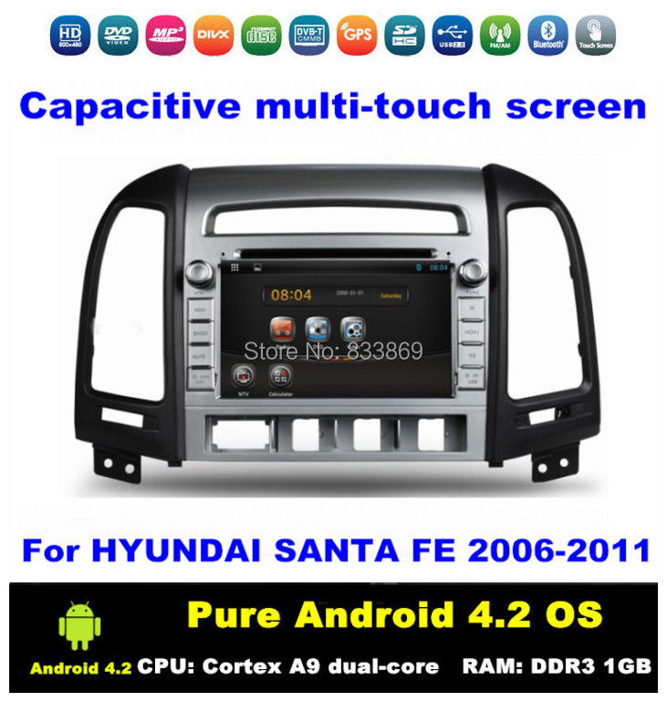 "Pure Android 4.2 HD 2 din 7 ""Car PC for HYUNDAI SANTA FE 2006-2011 With Bluetooth 3G/WIFI CPU: Cortex A9 dual-core RAM: 1GB DDR3(China (Mainland))"