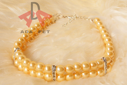 Wholesale 4 PCS /LOT S/M/L imitation pearl pet jewelry necklace,dog cat collar,teddy cat kitty accessory(2 layers)
