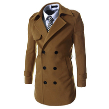 2015 New Mens Autumn Winter Worsted Solid Slim Double Breasted Men Trench Coat With Belt Casual Long Jacket Windbreaker 13M0269(China (Mainland))