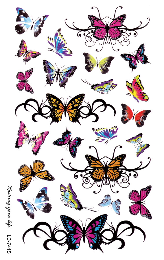 buy lc2741s 19 12cm large tattoo sticker bright colorful butterfly flower. Black Bedroom Furniture Sets. Home Design Ideas